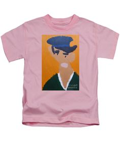 Patrick Francis Designer Kids Pink T-Shirt featuring the painting Young Man With A Hat - After Vincent Van Gogh by Patrick Francis