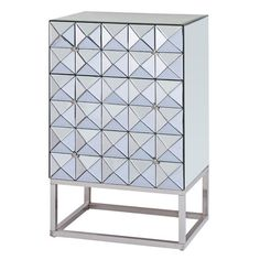 Mirrored chest with pyramid-shaped drawer fronts and an open stainless steel base.     Product: Chest   Construction ...