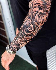 Cool Half Sleeve Tattoos, Half Sleeve Tattoos Designs, Forearm Sleeve Tattoos, Hand Tattoos For Guys, Tattoo Designs Men, Best Forearm Tattoos, Tatoos Men, Realistic Tattoo Sleeve, Tattoos For Guys Badass