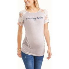 Glamour & Co. Maternity Coming Soon Floral Sleeve Graphic Tee, Size: Large, Multicolor