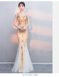 Fleepmart Robe de soiree Golden Elegant V-Neck Beaded Long with Appliques gowns Mermaid Evening Dresses vestido de festa Party Prom Dress