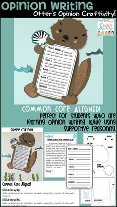 OPINION WRITING - Otter's Opinion! Great for students who are learning to back up their opinion writing with supportive reasoning. Common Core Aligned!