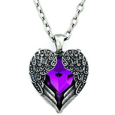 Amazon.com: Youngchoice Purple Stone Fallen Dark Angel Wings & Heart... ($3.90) ❤ liked on Polyvore featuring jewelry, necklaces, purple stone necklace, pendant necklace, heart jewelry, purple stone jewelry and heart shaped pendant necklace