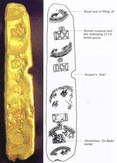 Detail on gold bar found on the Atocha shipwreck