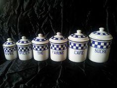 Pots à épices émaillés damiers bleus cuisine Vintage Enamelware Enamel Canister