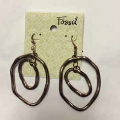 Fossil rose gold hanging earrings, NWT Fossil rose gold earrings Fossil Jewelry Earrings