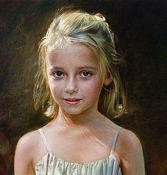robert schoeller art | Robert Schoeller Painting: Little Girl Portrait Little Girl Portrait ... #OilPaintingGirl