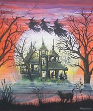 Halloween Art Witches Haunted House Children Witches Flying Cat Byrum PRINT HA31
