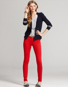 navy blue blazer, Stripes and colored jeans