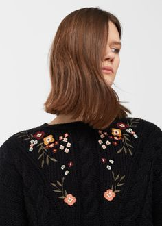 Flower embroidered sweater   MANGO