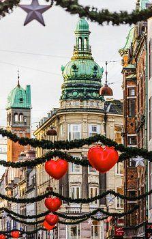 Denmark, Sjelland, Copenhagen . Buildings in Strøget street and some Christmas decorations