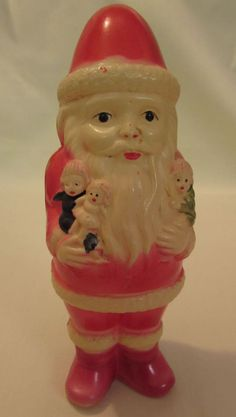 Vintage 1930s Celluloid Toy Rattle Christmas Santa with Dolls