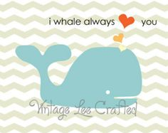 8x10 nursery print, baby whales, boy or girl nursery print, nautical whale nursery, i whale always love you, chevron blue, chevron whale