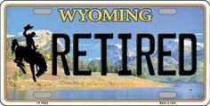 Retired Wyoming Background Novelty Metal License Plate