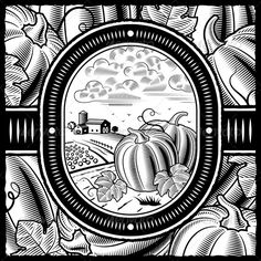 Woodcut idea for background.  Maybe fade it out to use in place of the castle.Pumpkin Harvest Black and White  #GraphicRiver.net