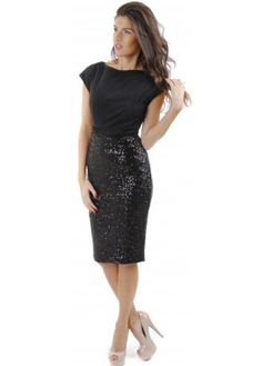 The Pretty Dress Company Luxe Sequinned Melrose Dress | Black Sequinned Dress