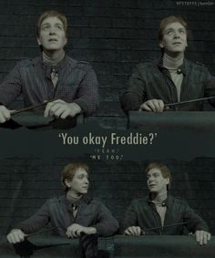 i love harry potter but J.K. did you rly have to kill fred he was my favorite charecter
