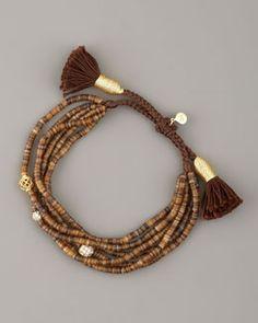Y0ZPF Tai Brown-Bead Tassel Bracelet