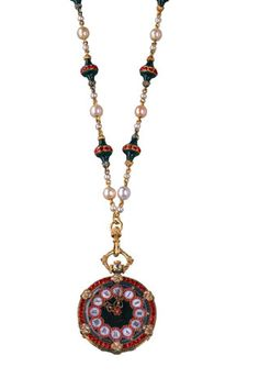 Pendant Watch in gold, silver, diamonds, rubies, jasper, bloodstone, pearls and enamel, 1853-1854. Made for the Duchess of Luynes by Chaumet, introduced in 1855 at the Exposition Universelle in Paris