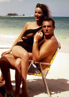 Claudine Auger and Sean Connery on location for 'Thunderball', 1965.