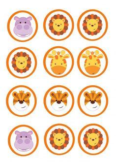 toppers safari Jungle Theme Parties, Safari Theme Party, Jungle Party, Jungle Safari, Party Themes, Baby Album, Letter A Crafts, Animal Birthday, Baby Art