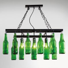 Pendant Lamp Beer Bottles - KARE Design Witty pendant lamp with green antique glass - This original pendant lamp will probably make male hearts beat faster! Kare Design, Pendant Lamp, Pendant Lighting, Decorative Ceiling Lights, Bottle Chandelier, Antique Glass Bottles, Suspension Design, Dining Room Lighting, Mason Jar Lamp
