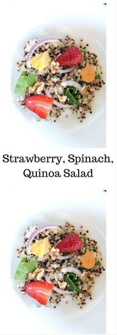 This Strawberry, Spinach, Quinoa Salad is tasty and easy to make. Tasty quinoa salad. Click here for this recipe or pin to save for later.