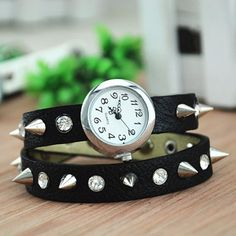 MagicPiece Handmade Vintage Style Leather Watch For Women Rivetand Rhinestone Belt in 5 Colors: Black: Watches: Amazon.com
