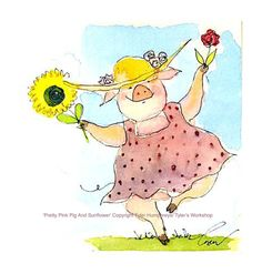 Pig Greeting Card Watercolor Funny Pig by tylersworkshop on Etsy, $3.50