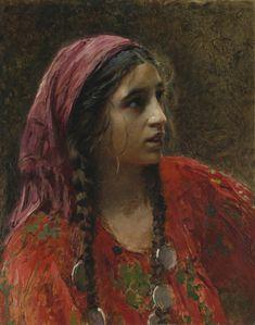 """Konstantin Makovsky (1839–1915) «Цыганка» """"Gypsy"""" Unknown date Oil on panel 53.5 × 42.5 cm (21.1 × 16.7 in) Sotheby's"""