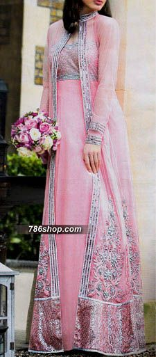 Baby Pink Crinkle Chiffon Suit | Buy Pakistani Indian Dresses | 786Shop.com