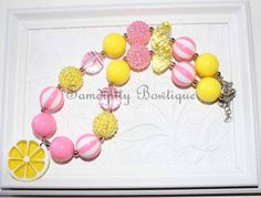 Pink Lemonade Chunky Bubblegum Bead Necklace by SamdipityBowtique, $23.95