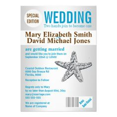 =>quality product          Starfish beach wedding magazine PERSONALIZE Custom Announcement           Starfish beach wedding magazine PERSONALIZE Custom Announcement We have the best promotion for you and if you are interested in the related item or need more information reviews from the x cust...Cleck Hot Deals >>> http://www.zazzle.com/starfish_beach_wedding_magazine_personalize_invitation-161275116913195422?rf=238627982471231924&zbar=1&tc=terrest