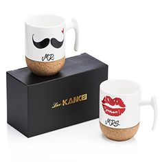 Love-KANKEI Mr and Mrs Ceramic Mugs with Novelty Cork Bottom - Wedding Gifts/Valentines Gifts for Couples - Set of oz Wedding Gifts For Friends, Wedding Gifts For Guests, Wedding Gifts For Couples, 2nd Wedding Anniversary Gift, Anniversary Gifts For Couples, Mr Mrs, Couple Mugs, Couple Gifts, Novelty Mugs