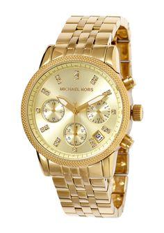 ideeli   MICHAEL KORS Ladies Chronograph Gold Tone Dial Watch