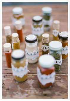 Wedding favors spices...very different but cool favor ideas.