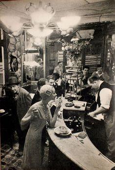 """At """"Le Chien qui fume"""" café, Les Halles, Paris, 1957  by Frank Horvat"""