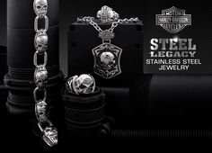 Harley-Davidson Stainless Steel jewelry for men...durable and attractive rings, bracelets and necklaces, all at a great price.