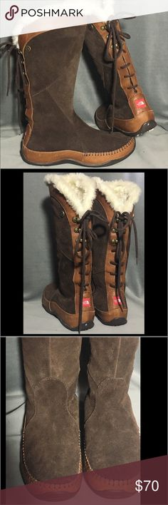 The north face winter boots brown suede back tie Only worn once indoors for about 20 minutes . True to size . 8.5 primaloft fiber interior with fur trim The North Face Shoes Winter & Rain Boots