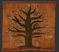 Goat Tree, embroidery by Mariska Karasz, ca 1947 Mixed fibers on unidentified four-salvage vegetal fiber with wooden dowel, approx 43 x 47 inches Cat. Types Of Embroidery, Vintage Embroidery, Art Indien, Hoop Dreams, Les Religions, Textile Artists, Fiber Art, Goats, Folk Art