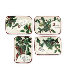 Vintage Christmas Postcard Dinner Plates, Set of 4   Williams-Sonoma design provided by Showoffs