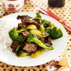 Yummy recipe that I modified from Good Housekeeping:  Ingredients  1 cup(s) long-grain white rice  garlic powder  soy sauce  1 pound(s) flank steak   1/2 can chicken broth  3 teaspoon(s) oil  1 tablespoon(s) cornstarch  1 tablespoon(s) cold water  1 1/2 pound(s) broccoli