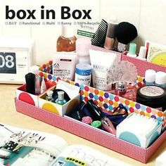 New Fashion Korean Style Desk Cosmetic Storage Box Container Bag Case Stuff Organizer Box In Box DIY Diy Makeup Organizer, Diy Box Organizer, Cardboard Organizer, Diy Storage Boxes, Cardboard Storage, Diy Cardboard, Perfume Organization, Desk Organization Diy, Diy Desk