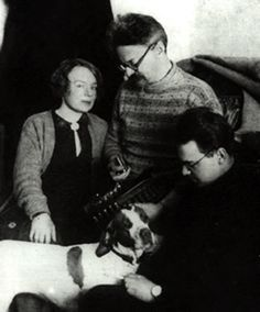 León Trotsky with his family and his dog, 1928.