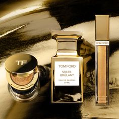 From our friends at Tom Ford Beauty: Discover the new Soleil Brûlant collection, inspired by the luxe golden warmth of the new Soleil Brûlant fragrance. Sunlust Lip Color is a highly-pearlescent gloss that sweeps on gilded, then shade-shifts to a peachy hue on lips. Cream and Powder Eye Color offers a molten-black base shade and high-glitter bronze powder. Eye Color, Lip Colors, Seductive Eyes, Dom Perignon, Tom Ford Beauty, Makeup News, Vintage Champagne, Beauty Cream, Black Sand