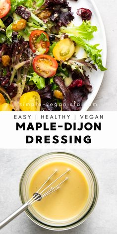 This homemade maple-dijon dressing is quick & easy, using only 4 simple ingredients for a delicious creamy vegan salad dressing you'll want to use on almost everything! Clean Eating, Healthy Eating, Whole Food Recipes, Cooking Recipes, Salad Dressing Recipes, Maple Syrup Salad Dressing Recipe, Vegan Salad Dressings, Salad Recipes, Vegetarian Recipes