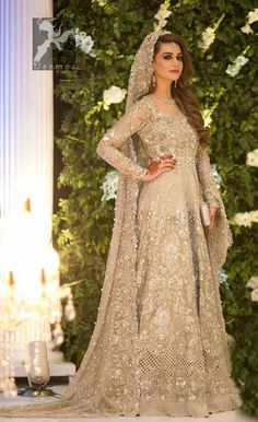 This beautiful anarkali is meticulously highlighted with silver, kora, dabka, tilla, sequins and swarovsky. Asian Wedding Dress Pakistani, Pakistani Wedding Dresses, Pakistani Outfits, Indian Dresses, Pakistani Clothing, Wedding Hijab, Indian Outfits, Asian Bridal Wear, Pakistani Lehenga