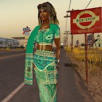 Dahlia Jayaram waits for the bus while on the road during one of her many travels through Second Life.