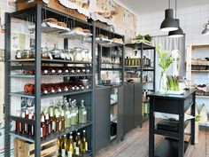 ikea-ivar in black A small grocery store with shelving units and cabinets in solid wood painted grey Küchen Design, House Design, Interior Design, Ikea Ivar Regal, Hacks Ikea, Wood Shelves, Shelving Units, Painted Shelving, Ikea Ivar Shelves