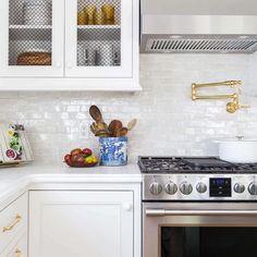 weathered white subway zellige from cletile Rustic Kitchen, Diy Kitchen, Kitchen Decor, Kitchen Layout, Kitchen Colors, Kitchen Hacks, Kitchen Shelves, Kitchen Cabinets, Glass Shelves